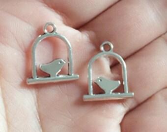 50pieces 17x14mm  Antique Silver bird charm  -  antique bronze charm pendant  Jewelry Findings