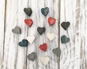 Miniature wood heart magnets