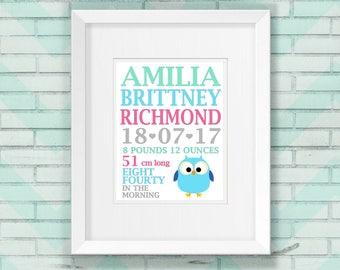 Framed Birth notice, Birth details, Name wall art, Kids wall art, Name frame, Nursery Name, Wall art
