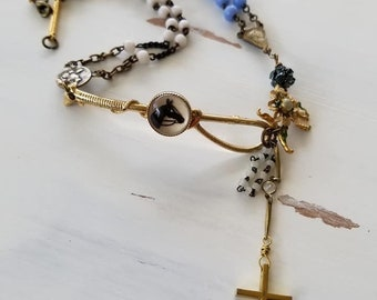 Horse Necklace, Equestrian Necklace, Rosary Beads, Choker, Horse Assemblage Necklace