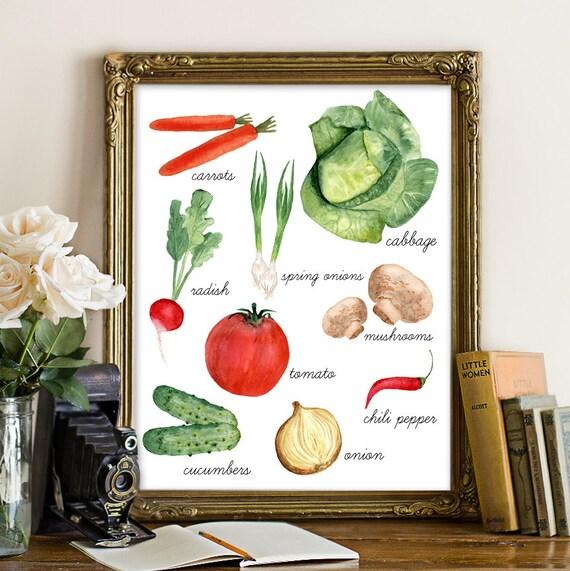 Kitchen Decor Vegetables: Vegetable Printable Kitchen Printable Kitchen Wall Decor