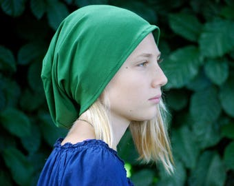 Slouchy Hat - Unisex Hat - Teen - Beanie - Green - Eco Friendly Jersey - Organic Clothing