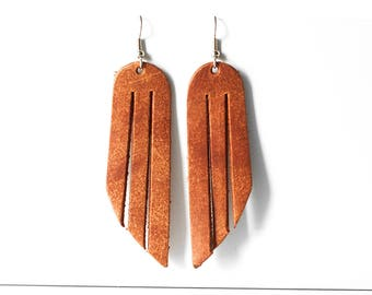 Leather Earrings / Fringe / Clay