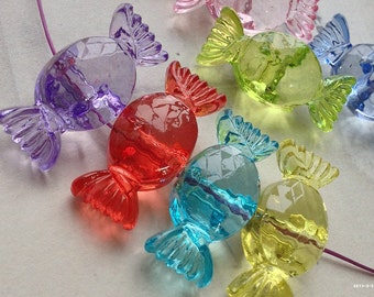 18 x 30 mm Candy Shape Resin Acrylic Beads of Assorted Colors (.mhh)