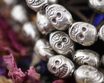 Smiling Skulls: Sterling Silver Beads 11x8mm, Yoga Inspired Jewelry Making Supply, Calavera, Day of the Dead, Bohemian Juju, 4 Loose Beads