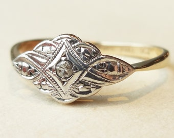 Art Deco Eastern Design Ring, Vintage Diamond Engagement Ring, 9k Gold and Palladium Approx Size US 8