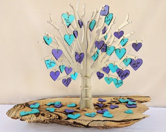 Wedding Guest Book Tree, Custom Alternative Guest Book, Cut Out Tree with Heart Leaves, Family Tree, Bridal Shower, Baby Shower, Anniversary
