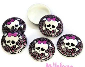 "Set of 5 cabochons skulls ""halloween"" pink black leopard scrapbooking (ref.410) *."