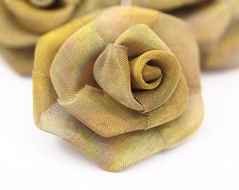 Brass Wire Mesh, 5 Raw Brass Wire Mesh Folded Rose Sculpture (33mm)  D022--C046