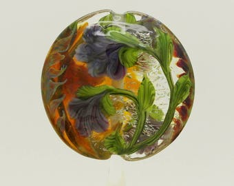 Purple & Amber Dichroic Floral Lampwork Bead Focal Handmade Glass Art
