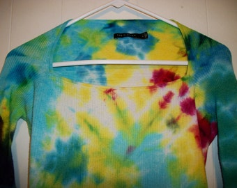 Tiedye long sleeved square neck tee shirt