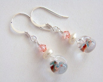 Garden Memories Earrings, Colorful Lampwork Glass Drop Earrings, Lampwork Glass and Pearl Silver Earrings, Cute Glass Earrings, Kawaii