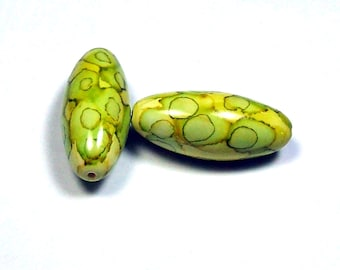 NOW ON SALE Handmade Polymer Clay Beads - Lime Green, Citrus and Yellow - Batik Style - Sold in Pairs