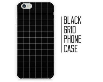 Black Grid Pattern Phone Case - Checkered Pattern - iPhone X 8 Plus 7 6 6s 5 5s 5c SE + Samsung S6 S7 S8+