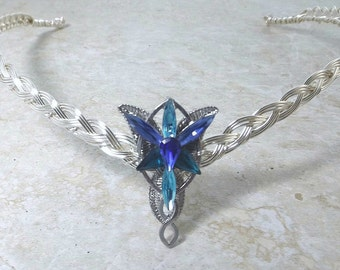 Blue Evenstar Circlet Crown Tiara Celtic Weave