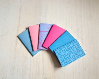 Notebooks: 6 Tiny Journal Set, Blue, Pink, Favors, Small Notebooks, For Her, For Him, Gift, Unique, Mini Journals, Favors, Wedding, T090