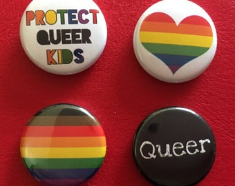 """protect queer kids set 1"""" buttons"""