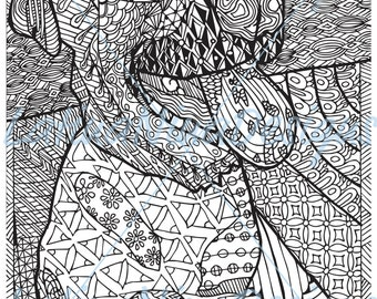 Zentangle Dog, adult coloring page, instant download, printable, pdf