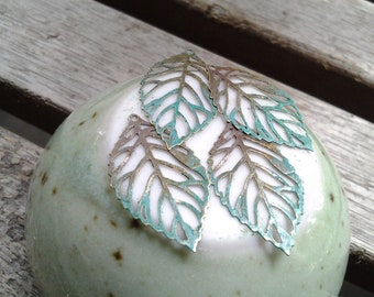 Handpainted Verdigris Patina Filigree Hollow Leaf Charms (Double Sided) (18026) - 23.5x14mm