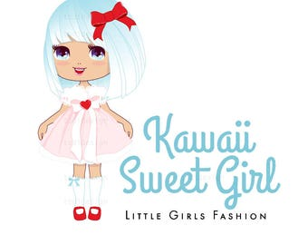OOAK Character Illustrated Premade Logo design Kawaii Sweet Girl- Girls Tutu and hair accessories Boutique Clothing -
