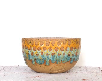 Teal and Gold Ceramic Snack Bowl- breakfast bowl- oatmeal bowl- small ceramic bowl- colorful pottery- READY TO SHIP