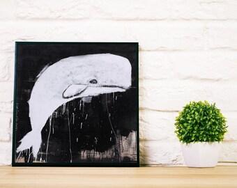 Whale Art, Whale Print, Black and White Print ,Nautical Print, Fish Print, Nautical Decor, Wall Art Print, Animal print, Wall Decor, #508wh