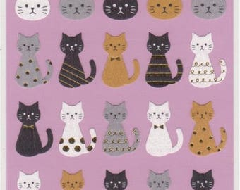Cat Stickers - Japanese Paper Stickers - Gold Trim - Mind Wave - Reference A5690-91