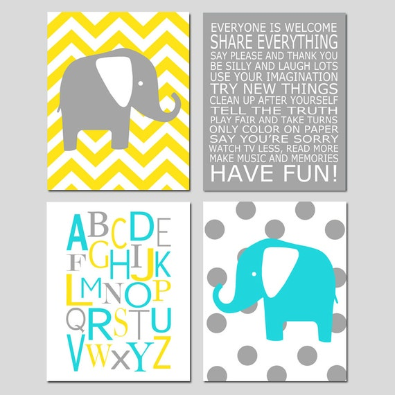 Baby Nursery Art Print Dog Abc Nursery Decor Alphabet Print: Baby Boy Nursery Art Chevron Elephant Nursery Prints Kids