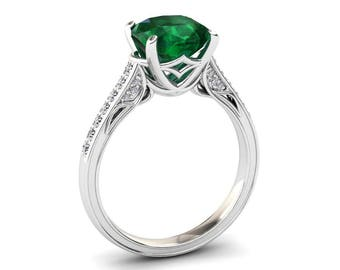 Emerald Ring 3.10 Cushion Cut Carat Emerald And Diamond Ring In 14k or 18k White Gold. Matching Wedding Band Available  CF8GW