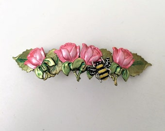 Bee Hair Barrette, Pink roses with honey bee