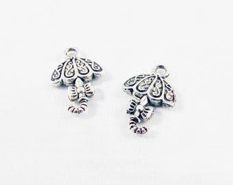 BMN11 - 2 charms pendants umbrella bow loop and Tibetan silver patterns
