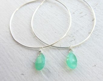 Chrysoprase Gemstone Earrings, Gemini Birthstone Earrings, Gemstone Hoops, Sterling Silver Hoops, May Birthday Gift, Silver Hoops