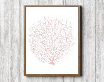 Watercolor Fan / Sea Coral Printable Wall Art- Blush Pink Nursery /Girls Room Print -Office Art Poster - Sea Life - 11 x 14 - 8 x 10 - 5 x 7