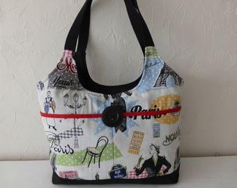 Woman handbag, colorful, retro fabrics, Paris, handmade