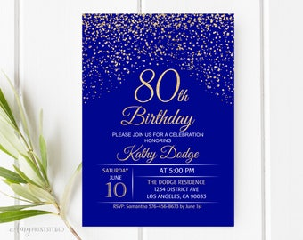 Royal Blue Invite Etsy