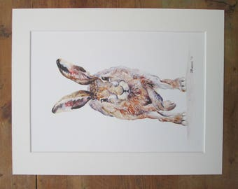 "Hare  watercolour print. Printed directly onto watercolour paper. In a  14"" x 11"" mount."