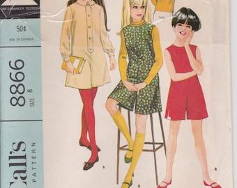 Retro Girls Pantdress Pattern Pantjumper Pattern  Girls Size 8  McCalls 8866 Vintage 1967