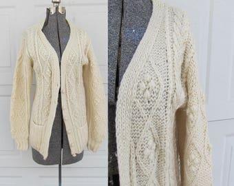 1970s vintage cream knit fishermen's sweater, fisherman's cardigan, soft wool sweater, M