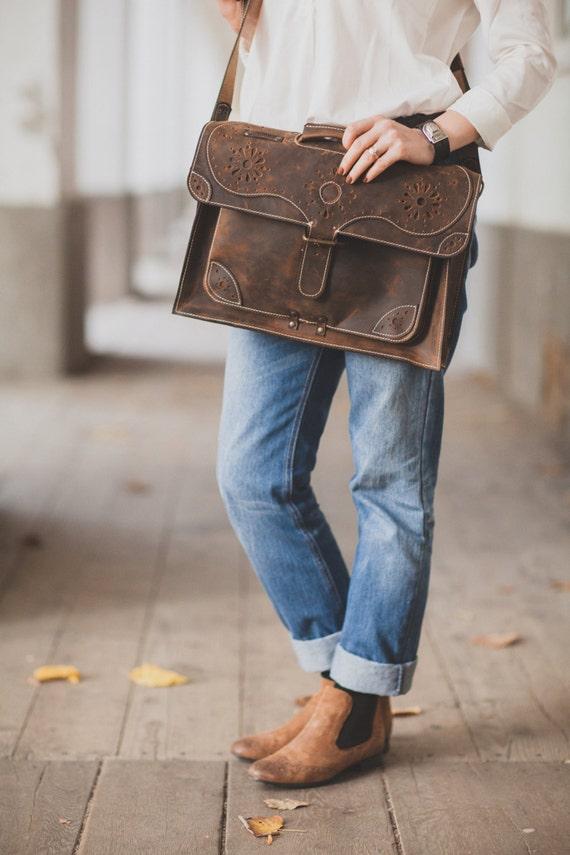 17inch Leather Briefcase, Handmade Genuine Leather Bag, Laptop leather bag, 17 inches laptop briefcase, laptop bag