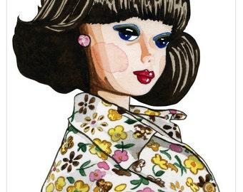 Blue Headband Barbie Watercolor Print