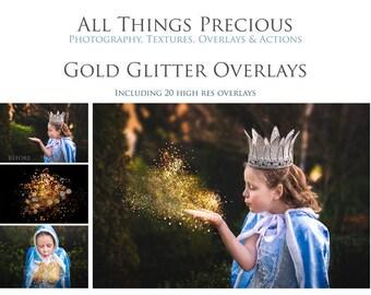 20 High Res Fine Art Digital GOLD GLITTER Overlays