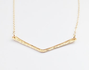Gold Chevron Necklace // Hammered 14k Gold Filled