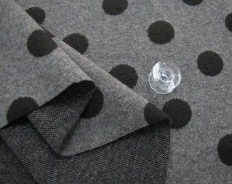 Interlock Knit Fabric 2 cm Black Polka Dot By The Yard
