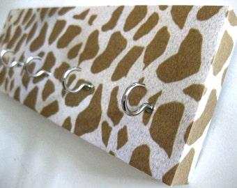 """Giraffe Key Rack Giraffe Jewelry Rack Animal Print White and Brown Brown and Cream Animal Wildlife Jewelry Storage Organizer """"Giraffe"""""""