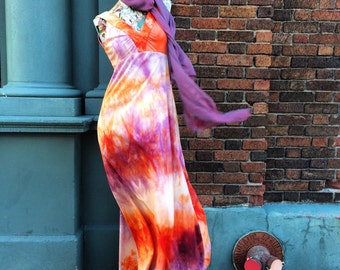70s Vintage Tie Dye Orange and Purple Butterfly Maxi Dress Made in Spain    Don Luis de Espana    small medium