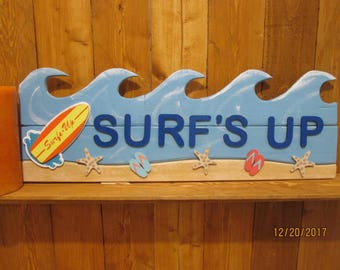 Beach Surf's Up Wave Sign