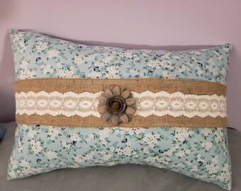 Blue floral pillow - large