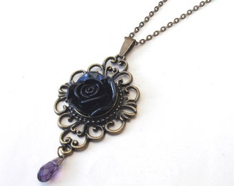 Gothic Black Rose Necklace with Amethyst Glass Drop, Victorian Necklace, Flower Necklace, Gothic Necklace