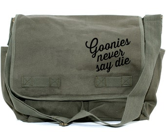Messenger Bag | GOONIES | Gift for Men | Camera Bag | Crossbody Bag | Canvas Bag | Travel | Large | 80s Movie Quote | Gift for Women