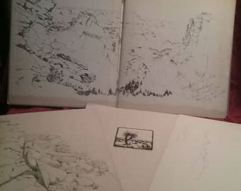 Vintage Hurlstone Fairchild  Artist's Note Book Grand Canyon, and 3  Original Drawings